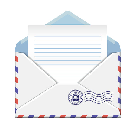 Open envelope with paper on white background.vector illustration Illusztráció