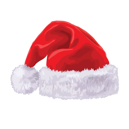Santa hat eps 8 illustration without gradients isolated on white background