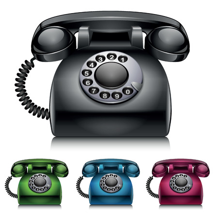 Old telephones. vintage style vector illustration