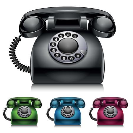 Old telephones. vintage style vector illustration