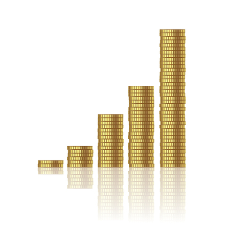 growth of gold coins isolated on white background