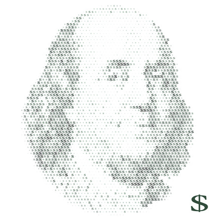 Franklin portrait with dollar simbols. vector illustration Illusztráció