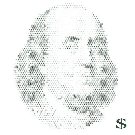 Franklin portrait with dollar simbols. vector illustration Stock Illustratie