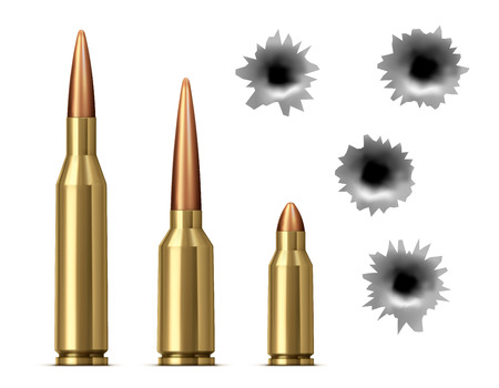 Bullets and bullet holes isolated Realistic vector illustration Stock Illustratie