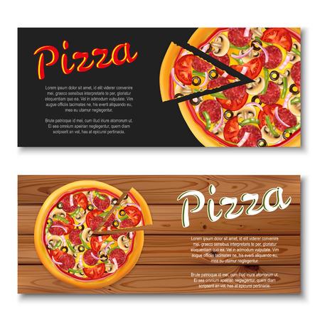 Realistische pizzavlieger op houten en zwarte achtergronden. Twee horizontale banners