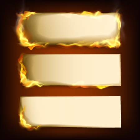 Burning papers realistic set with different power of fire. Realistic vector illustration