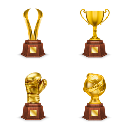 Golden trophies cups and awards on wooden stand, realistic vector illustration isolated on white background