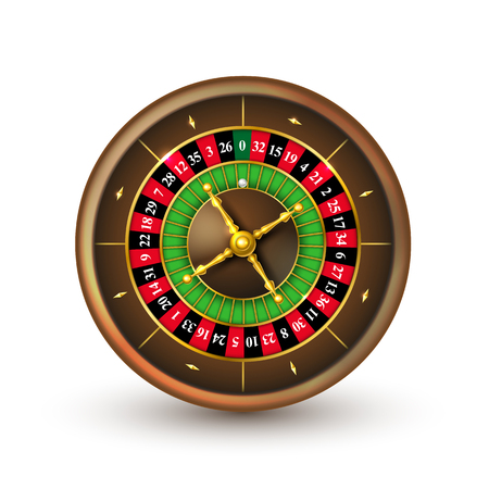 Realistic casino roulette wheel. Detailed vector illustration isolated on white background Stockfoto - 114887959