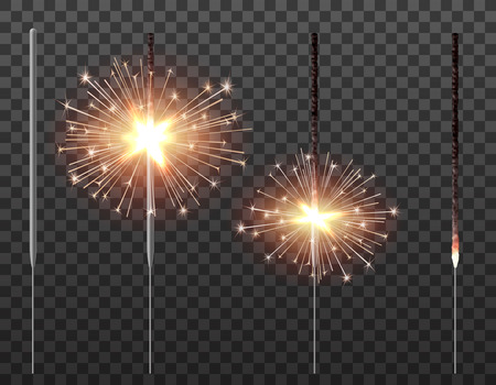 Bengal light christmas sparkler realistic vetor illustration