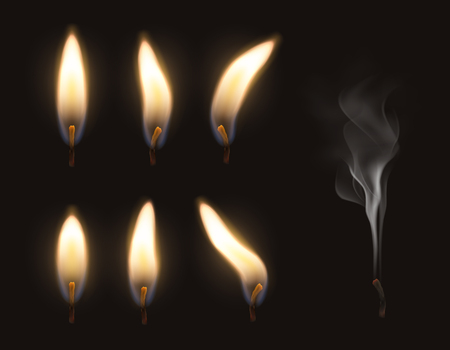 Vector 3d realistic candle fire flame set burning and extinguished with smoke Illusztráció