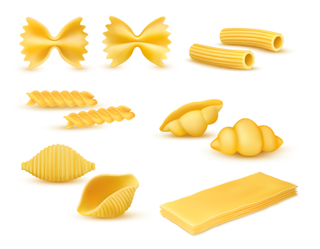 Realistic dry macaroni various kinds set, pasta assortment, italian cuisine, pasta, farfalle, conchiglie, rigatoni, fusilli, gnocchi, lasagne, vector illustration isolated on white background Illusztráció