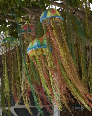 ko: Tree string lanterns Ko Samed Thailand Stock Photo