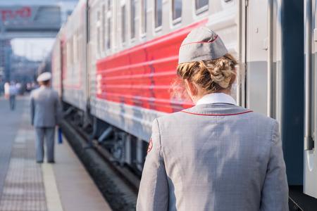 Kazan, Russia railway station, service woman trans siberian rail