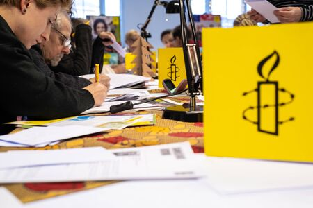Warsaw  Poland - December 9, 2018: Write for Rights is the worlds biggest human rights event organized by Amnesty International. Over 200 000 letters are sent from Poland every year to those, whose human rights are being attacked.