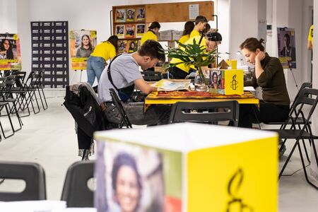 Warsaw  Poland - December 9, 2018: Write for Rights is the worlds biggest human rights event organized by Amnesty International. Over 200 000 letters are sent from Poland every year to those, whose human rights are being attacked. These young people a