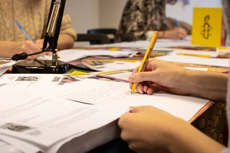 Warsaw  Poland - December 9, 2018: Write for Rights is the worlds biggest human rights event organized by Amnesty International. Over 200 000 letters are sent from Poland every year to those, whose human rights are being attacked. These people are wri
