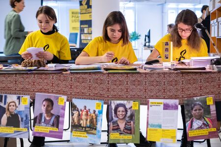 Warsaw  Poland - December 9, 2018: Write for Rights is the worlds biggest human rights event organized by Amnesty International. Over 200 000 letters are sent from Poland every year to those, whose human rights are being attacked. 3 young activists ar