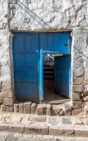 view of a wooden doorway: Blue Door - Cusco
