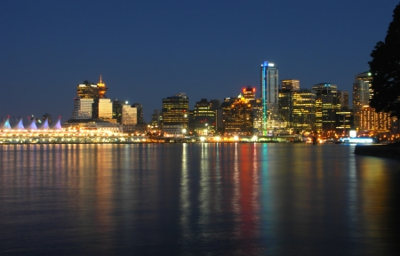 Vancouver at night - Canada Stock Photo