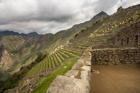 View to Caretakers Hut - Machu Picchu Peru Stock Photo