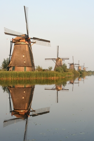 Windmills - Kinderdijk Netherlands Stock Photo