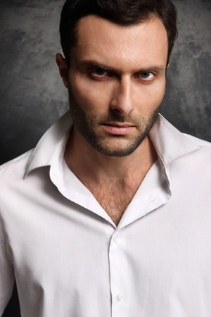 A man in a shirt on a black background Stock Photo - 18498884