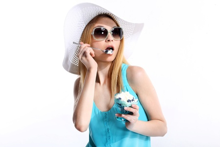 Woman In Sunhat Isolated photo
