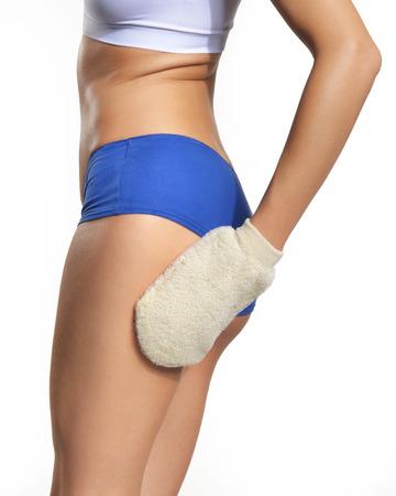 massaging: woman massaging thigh