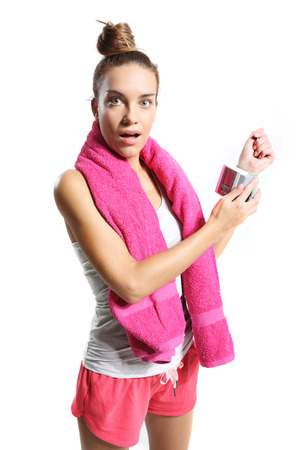 blood sport: girl checks the heart rate after exercise