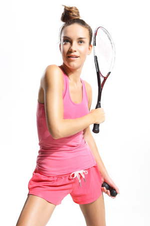woman with squash racket photo