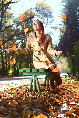 Autumn woman happy photo