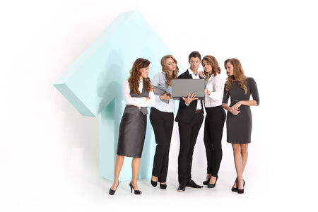seriousness: The team formally dressed staff and a symbol of growth Stock Photo