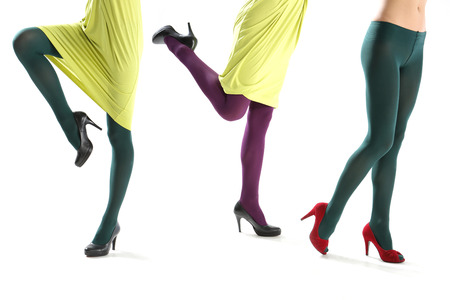 Female legs in colorful tights  photo
