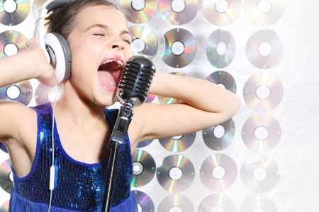hip hop girl: Singing pretty girl Stock Photo
