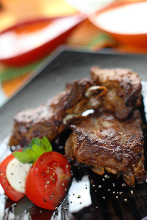 Grilled beef with tomatoes and mozzarella  photo