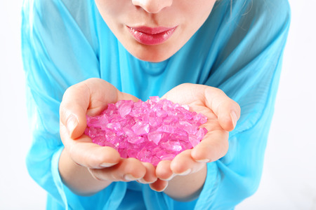 the well groomed: Pastel crystals  Well groomed female hands they keep pink, pastel crystals