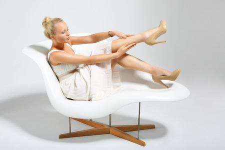 Smooth leather legs photo