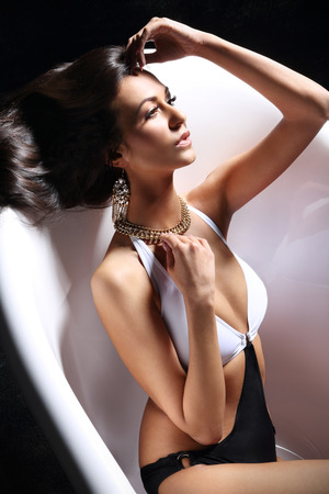 combed: Attractive sensual woman combing her beautiful hair.