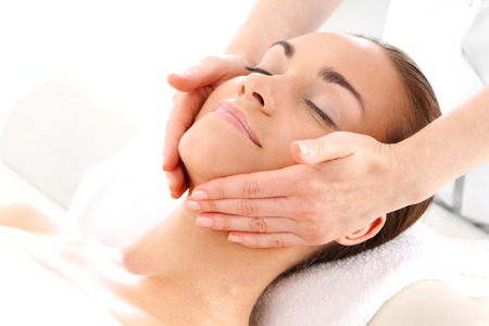 beauty care: Portrait of a beautiful woman in a beauty salon