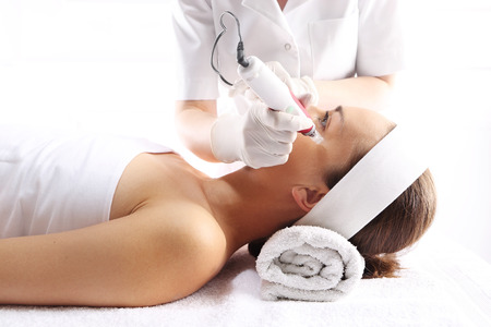 revitalization: Rejuvenation, beautification, the woman at the beautician, Mesotherapy microneedle