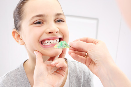 healthy mouth: Child orthodontist Stock Photo