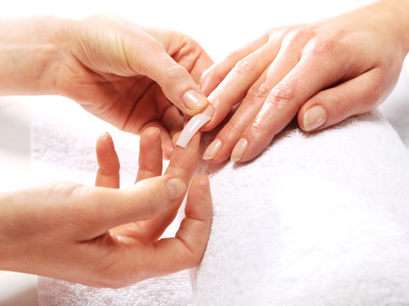 Gel nail extensions 스톡 콘텐츠