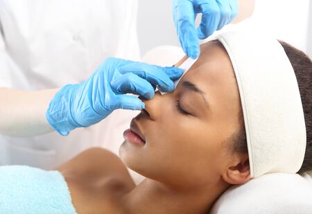 beauty treatment clinic: Beautiful woman during treatments in the spa