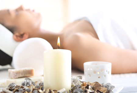 aromatherapy: Beautiful woman relaxing in the beauty salon,