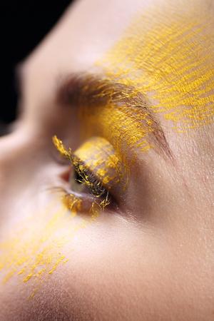 characterization: Loose eyeshadow, close-up on a woman eye Stock Photo