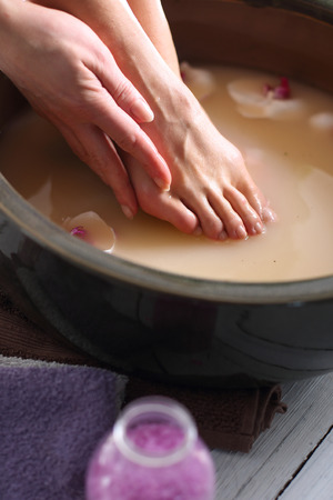 soaking: Home foot care Stock Photo
