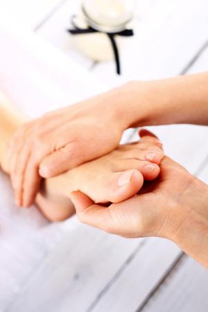 acupressure: Acupressure, foot massage Stock Photo