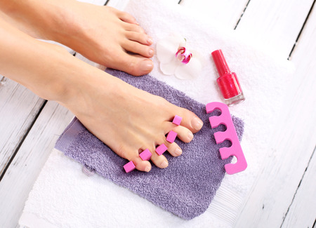 manicure and pedicure: Home pedicure Stock Photo