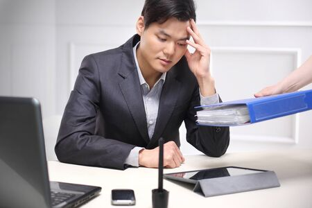 termination: Job responsibilities, e-mails, phone calls, documents Stock Photo