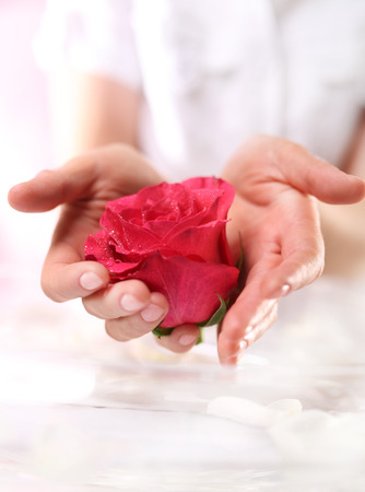 feminine beauty: Ritual rose, beauty spa wellness Stock Photo